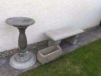 Garden bench,bird bath, planter