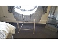 Claire de lune moses basket (grey and white)