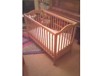 Sturdy wooden cot for sale as new with mattress