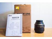 Nikon AF-S 85mm, 85 mm, f1.8 g, f1.8g, 1.8g, 1.8. Autofocus Lens (Mint in box) £320 OVNO