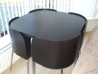 IKEA Fusion Dining Table & 4 Chairs - Black / Chrome