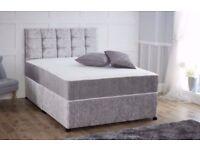 Silver Crushed Velvet divan bed with memory sprung mattress + free headboard