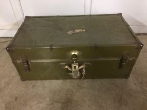 Beautiful Antique Army Travel Trunk ~L@@K~