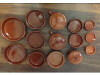 Mixed Tapas Dishes, Terracotta Cookware Set, 17 Piece Set, Excellent Condition most unused