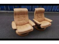 two brown stressless armchairs,possible delivery