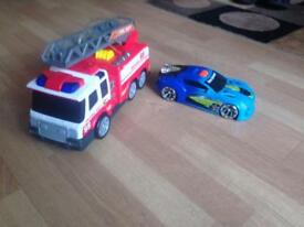 Toys fire engine and Racing car