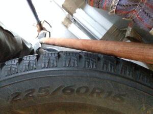 225/60R16 Winter Hankook i-Pike tires, set of 4 w/ steel Rims