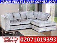 Silver Velvet Corner Sofa--Get It Today