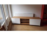 IKEA BESTÅ TV bench with drawers (Oak effect/white), as new, barely used.
