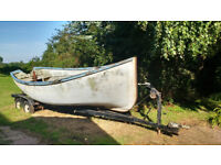 18 foot beach boat. Ex ships lifeboat. Unbraked trailer.