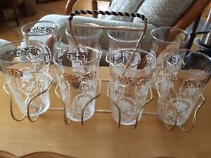 8 glasses with holder