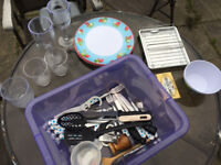 Camping Cutlery Plates Bowls Plastic Wine Glasses Grill Spoons Knives Forks Excellent Condition