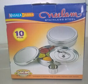 Neelam Authentic Indian Stainless Steel Spice Tin / Masala Dabba
