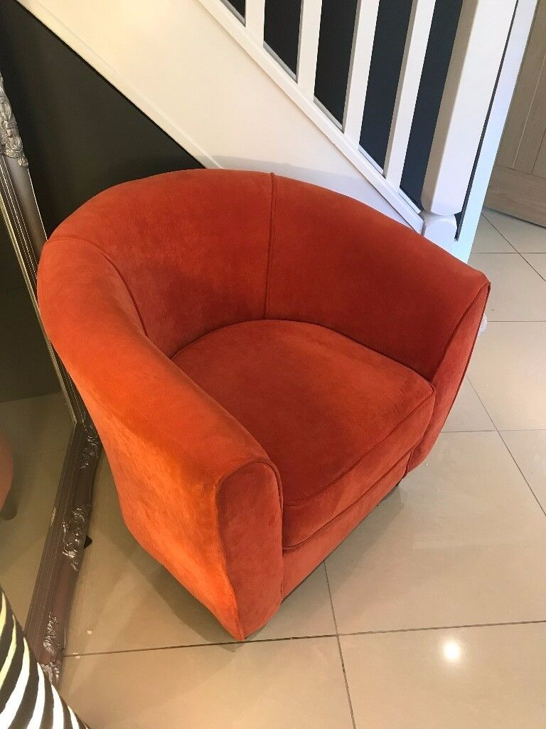 Housing Units Orange Chenille Fabric Tub Chair Armchair Lounge Office Show Home Display Rrp 299 95