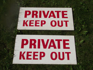 Hand painted Plywood PRIVATE KEEP OUT Signs