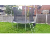 12ft Trampoline with Folding Enclosure In Excellent Condition