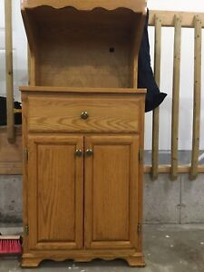 Solid oak wood microwave cabinet
