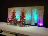 Asian Wedding Stages from £250, Floral Stages, Mehndi Stages, Chair Covers & House lighting Hire
