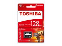 Toshiba Exceria 128GB Micro SD Memory Card 90 MB/s 4K + SD Adap