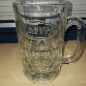 A & W Glass mug late 80's embossed Logo
