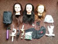 Hair dressing mannequin heads, clamps, and accessories bundle job lot