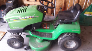 John Deere Sabre 14.5 hp tractor with snowblower and lawn deck