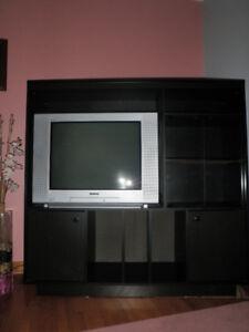 Meuble télé noir.  C'EST NÉGOCIABLE!!!