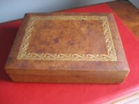 French VINTAGE Playing Card LEATHER covered Wooden Box - Holds 2 Decks of Cards