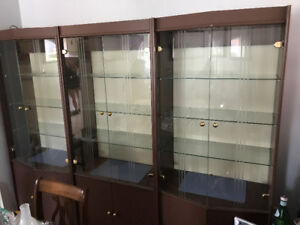 Display Wall Unit - 3 cabinets with glass doors