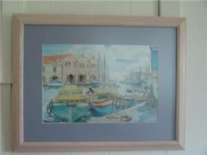 Jill Walker artist  watercolour pen print The Careenage Barbados