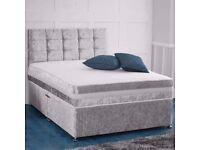 BRAND NEW DOUBLE CRUSH VELVET DIVAN BED WITH 1000 POCKET SPRUNG MATTRESS