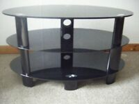 Black glass good quality oval 3 tier TV stand
