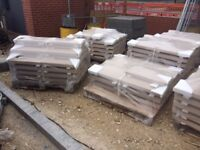 591 x Buff Coping Stone Brand New - 75/50 H x 305 W x 610 L. £9.98 per coping or £5000 for the lot.