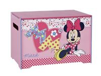 Minnie Mouse girls bedroom - curtains with matching toy box, dressing table and stool