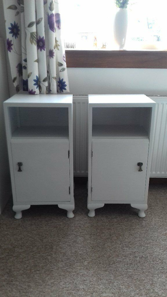 Vintage bedside cabinetsin Dalry, North AyrshireGumtree - Upcycled matching vintage bedside cabinets. Painted in a very pale grey colour. Original handles and hinges, both in good condition, would look good in any bedroom adult or child alike. H74cm W37cm D33cm. Buyer uplifts thank you