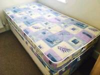 Single Divan Bed With Underbed Storage & Mattress (Good As New)