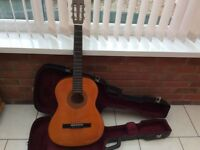 ENCORE GUITAR HARDLY USED WITH HARD CASE, PITCHPIPE FOR TUNING AND PLECTRUMS