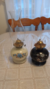 Two old oil lamps one dozen have a shade
