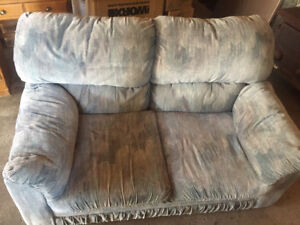 Blue material couch