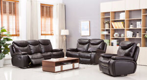 REAL LEATHER 3 PC RECLINING SOFA SET ON SALE NOW AT HOMETOWN