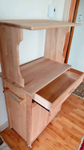 MICROWAVE CABINET, SOLID  BUTCHER BLOCK