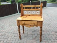 A PINE TILED BACK WASHSTAND HALL TABLE