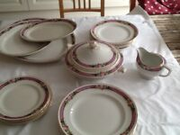 H & K Tunstall crockery set with 3 serving platters, gravy boat and lidded vegetable dish