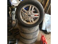 MK1 MK2 Ford Focus Zetec alloy wheels with 3 good tyres 195 60 15 4 stud