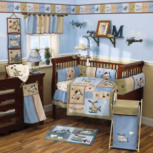 Boys airplane theme crib/ bedroom set
