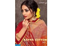 LIFESTYLE KATHA COTTON VOL-9 WHOLESALE ETHNIC PRINTED AND WORK SAREE