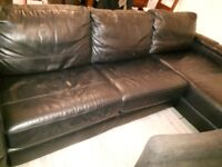 black leather 3 seaterDFS corner sofa bed