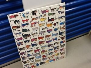 100 cats and 1 mouse poster on plaque board