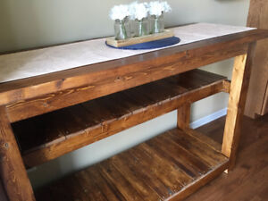 Brand New, Hand-made, Solid Wood Bar Table with Lower Shelving