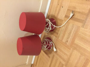 Set of 2 red table lamps